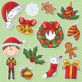 Santa Boy With Christmas Gifts et décorations Images stock