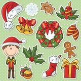 Santa Boy With Christmas Gifts und Dekorationen Stockbilder