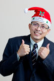 Santa boy funny posing Royalty Free Stock Photos