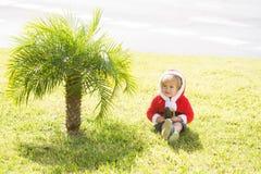 Santa boy at green palm tree Stock Photography