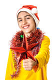 Santa boy with red star Royalty Free Stock Images