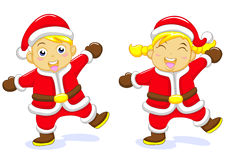 Santa boy santa girl Stock Images
