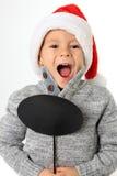 Santa boy with speech bubble Stock Photo
