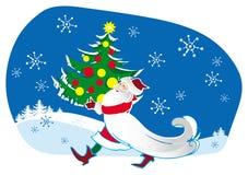 Santa bringing Christmas tree. Santa bringing decorated Christmas tree Stock Photo
