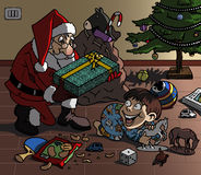Santa bringing gift. Cartoon-style illustration. Christmas scene: Santa Claus brings a wonderful gift to a cute kid, playing on the floor with his toys Royalty Free Stock Photography