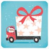 Santa Bringing Gift Royalty-vrije Stock Foto's