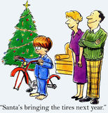 Santa is bringing the tires next year Stock Photography