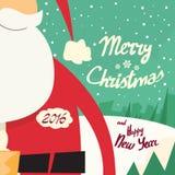 Santa brody Wesoło bożych narodzeń Szczęśliwy nowy rok ilustracja wektor