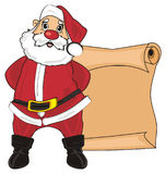 Santa with brown paper. Smiling santa claus stand next to the clean brown large paper Royalty Free Stock Photos