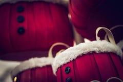 Santa buckets. With fur trim stock photo
