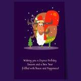Santa Bull with Beard and Sack. Christmas Vector Stock Photo