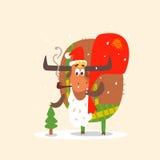 Santa Bull with Beard. Vector Illustration Royalty Free Stock Images