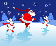 Santa and bunnies Skating Stock Images