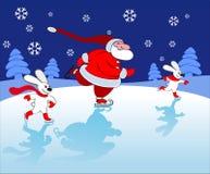 Santa and bunnies Skating. Christmas picture with Santa and bunnies skating royalty free illustration