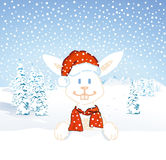 Santa bunny rabbit in snow Royalty Free Stock Image