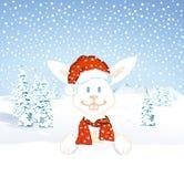 Santa bunny rabbit in snow. Illustration of cute bunny rabbit wearing Santa hat in snowy winter scene Royalty Free Stock Image