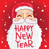 Santa with a bushy mustache and beard. Cute and fun Santa with a bushy mustache and beard. The inscription Happy New Year. Vector illustration on white Royalty Free Stock Photo