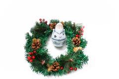 Christmas wreath Santa candleholder bright colours. Santa candleholder bright colours. Holiday concept new year and christmas concept. Isolated whitebackground stock photos