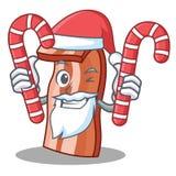 Santa with candy bacon mascot cartoon style. Vector illustration Royalty Free Stock Photography