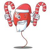 Santa with candy balloon character cartoon style. Vector illustration Stock Photos