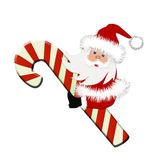 Santa with Candy cane. Santa is sitting on the candy cane, cartoon Stock Photography