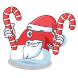 Santa with candy Christmas hat character cartoon Royalty Free Stock Photos