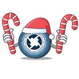 Santa with candy 0X coin mascot cartoon. Vector illustration Royalty Free Stock Photo