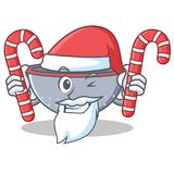 Santa with candy colander utensil character cartoon Stock Photos