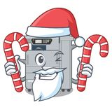 Santa with candy copier machine next to character chair. Vector illustration stock illustration