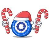 Santa with candy Cryptonex coin mascot cartoon. Vector illustration Stock Images