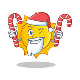 Santa with candy cute sun character cartoon Royalty Free Stock Images