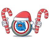 Santa with candy Dragonchain coin mascot cartoon. Vector illustration Royalty Free Stock Photos