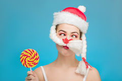 Santa with candy Stock Photography