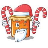 Santa with candy jam mascot cartoon style. Vector illustration Royalty Free Stock Photography