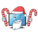 Santa with candy lcd tv isolated with the character vector illustration