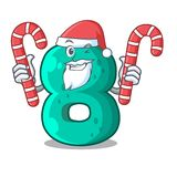 Santa with candy number eight volume logo the mascot. Vector illustration stock illustration