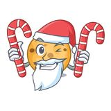 Santa with candy oat cookie isolated with the cartoon. Vector illustration royalty free illustration
