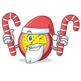 Santa with candy passion fruit mascot cartoon. Vector illustration Stock Photos