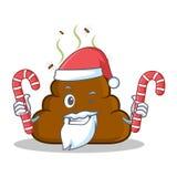 Santa with candy Poop emoticon character cartoon Stock Photos