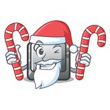 Santa with candy Q button installed on cartoon computer. Vector illustration vector illustration