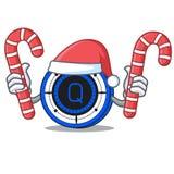 Santa with candy Qash coin mascot cartoon. Vector illustration Royalty Free Stock Photo