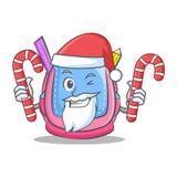 Santa with candy school bag character cartoon. Vector illustration Royalty Free Stock Photo
