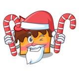 Santa with candy sponge cake mascot cartoon. Vector illustration Stock Photography