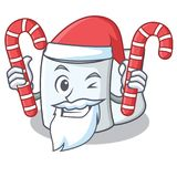 Santa with candy tissue character cartoon style. Vector illustration Royalty Free Stock Photography
