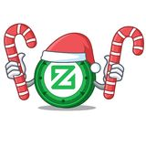 Santa with candy Zcoin mascot cartoon style. Vector illustration Stock Images