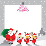 Santa, cane & renna, confine & fondo Fotografia Stock