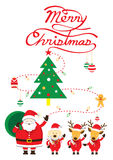 Santa, cane & renna, testo di Natale Immagine Stock Libera da Diritti