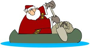 Santa In A Canoe stock illustration
