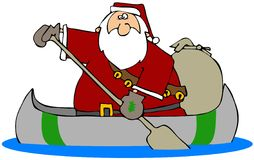 Santa In A Canoe Royalty Free Stock Image