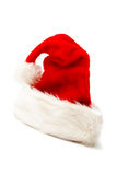 Santa cap. Red and white Santa Claus hat on a white background Stock Photo